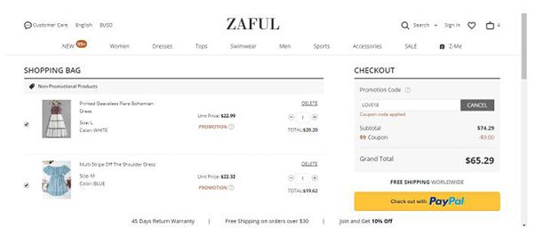 Zaful coupon code