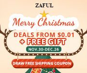 Zaful Pre-Christmas Sales on Zaful.com. Deals from $0.01+Draw shipping free coupon. Ends on Dec. 26 promotion