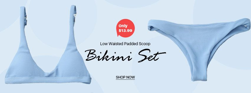 Low Waisted Padded Scoop Bikini Set Only $13.99 from Zaful