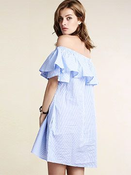 Striped Scoop Neck Flouncing Loose Dress