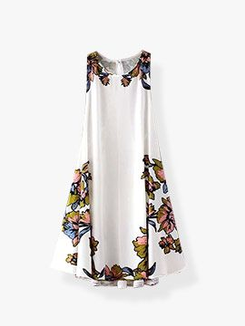 Floral Print Round Neck Sleeveless Back Lace Up Dress