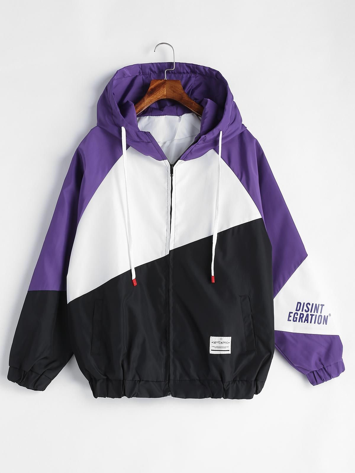 zaful Patchwork Graphic Hooded Jacket