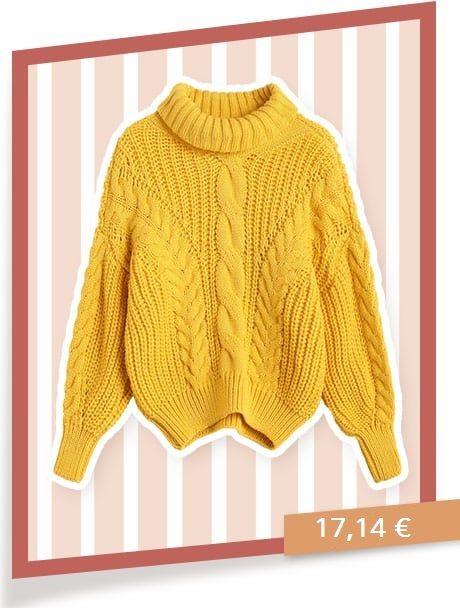 Pull tricoté avec gros câbles à col roulé - jaune vif