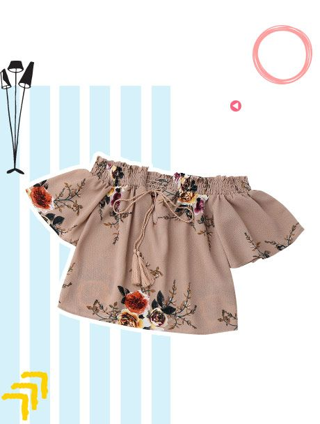 Cold Schulter Blumen Crop Bluse