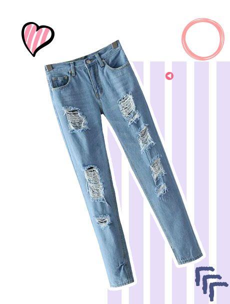 Jeans Mit Und Gebrochenem Loch