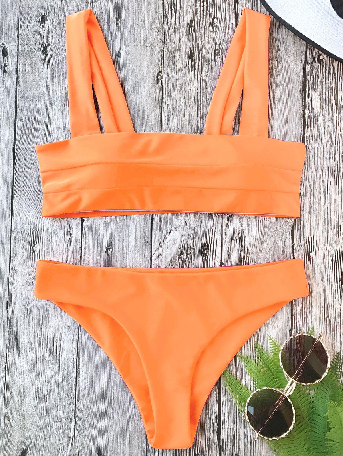 zaful Padded Wide Straps Bandeau Neon Bikini Set