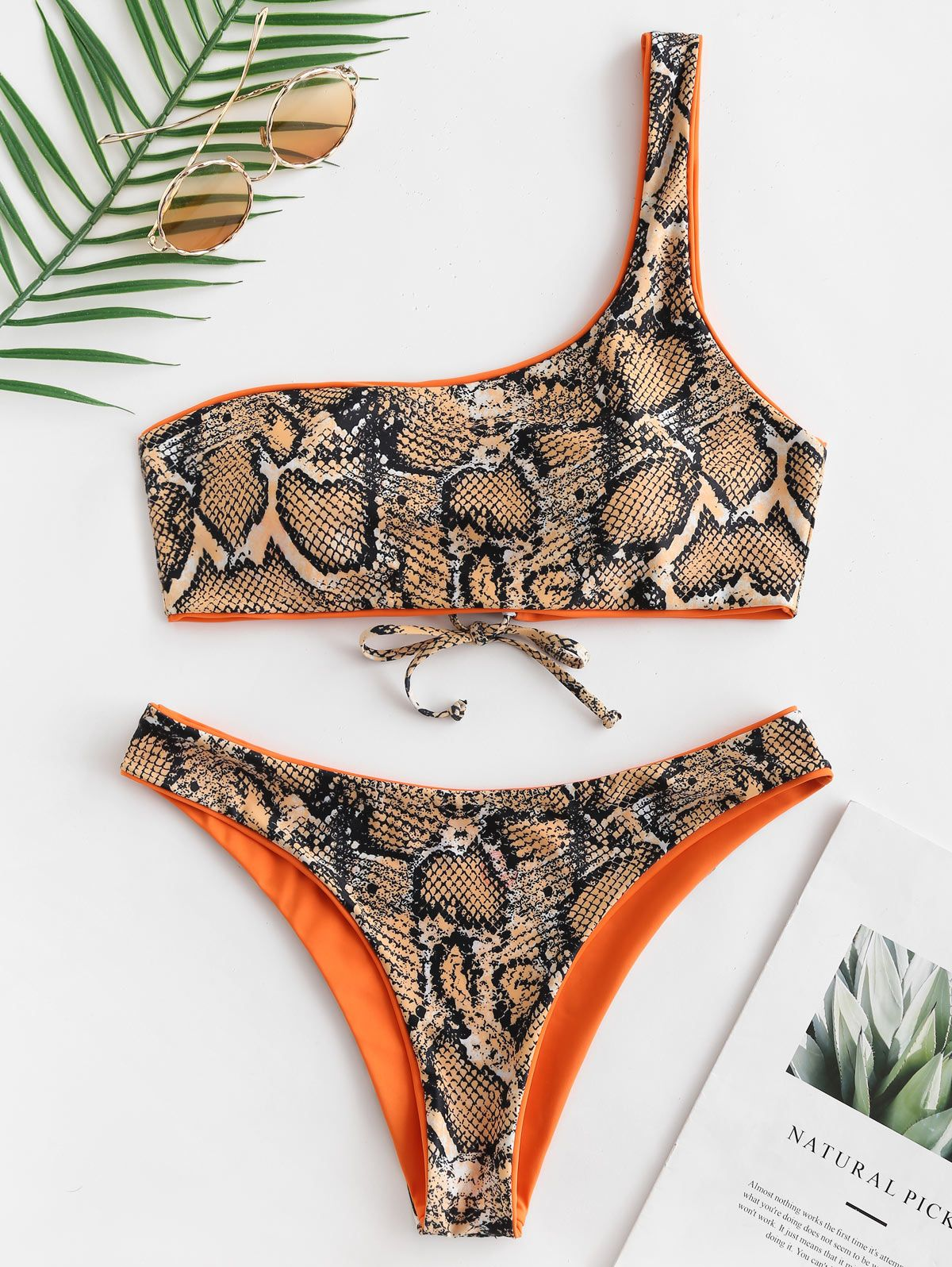 zaful Snakeskin One Shoulder Reversible Bikini Set